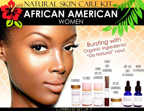 Skin Care Kit For African American Women - Natural Skin Care Kit For African American Black Women Skin Lightening And Toning Set Of 7