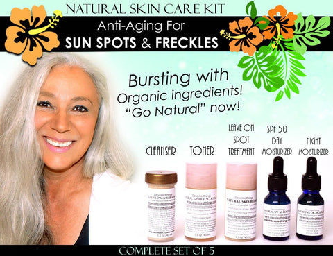 Natural Skin Care Kit Anti Aging For Sun Spots, Age Spots, Freckles, and Melasma Lightening Complete Set of 5 - DevotedThings