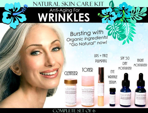 Natural Skin Care Kit Anti Aging For Wrinkles Anti Wrinkle Complete Set of 6 - DevotedThings
