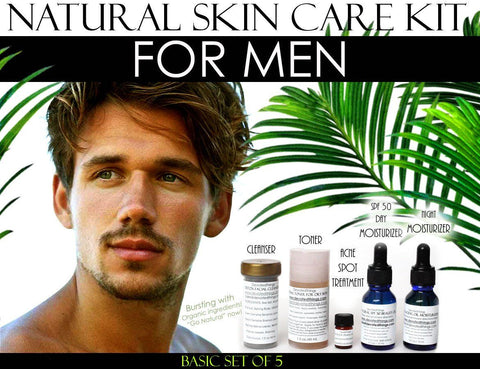 Skin Care Kit For Men - Natural Skin Care Kit For Men, Oily Skin, Enlarged Pores, And Acne Basic Set Of 5