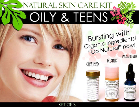Skin Care Kit For Oily Skin - Natural Skin Care Kit For Teens And Oily Skin Set Of 3