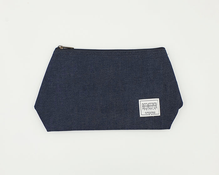 The Dark Blue Denim Toiletry + Makeup Bag