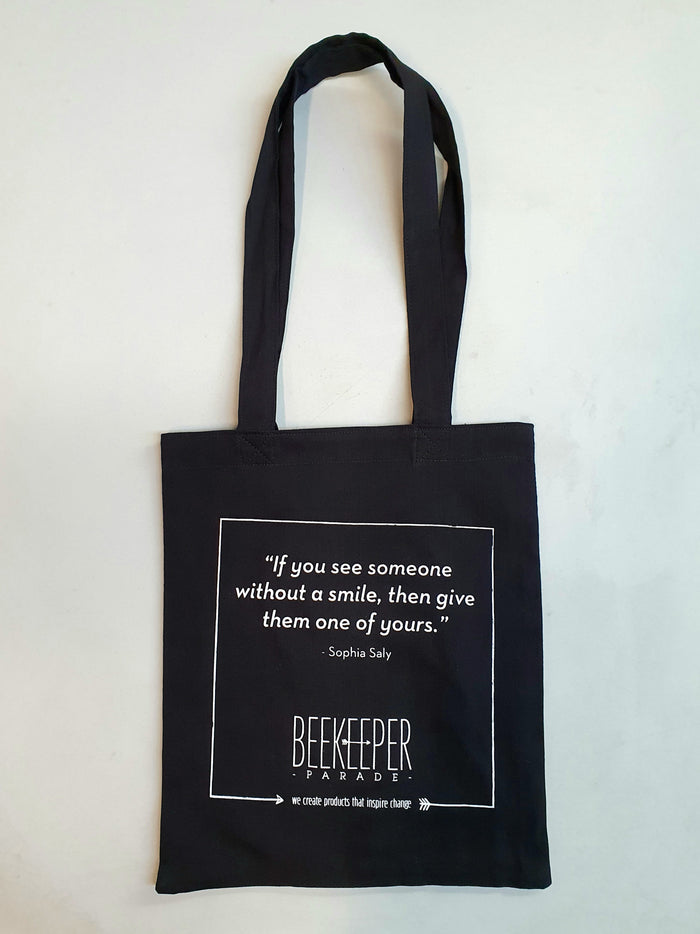 "The ""Sophia Saly"" Quote Tote Medium (Black Canvass)"