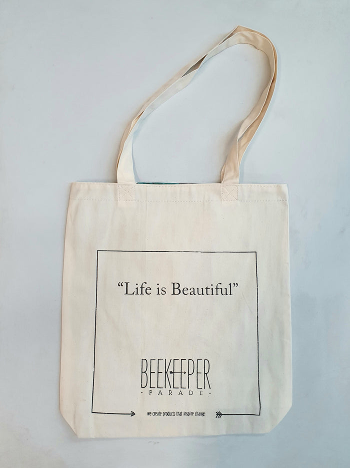 "The ""Life is Beautiful"" Quote Tote Large (White Canvass)"