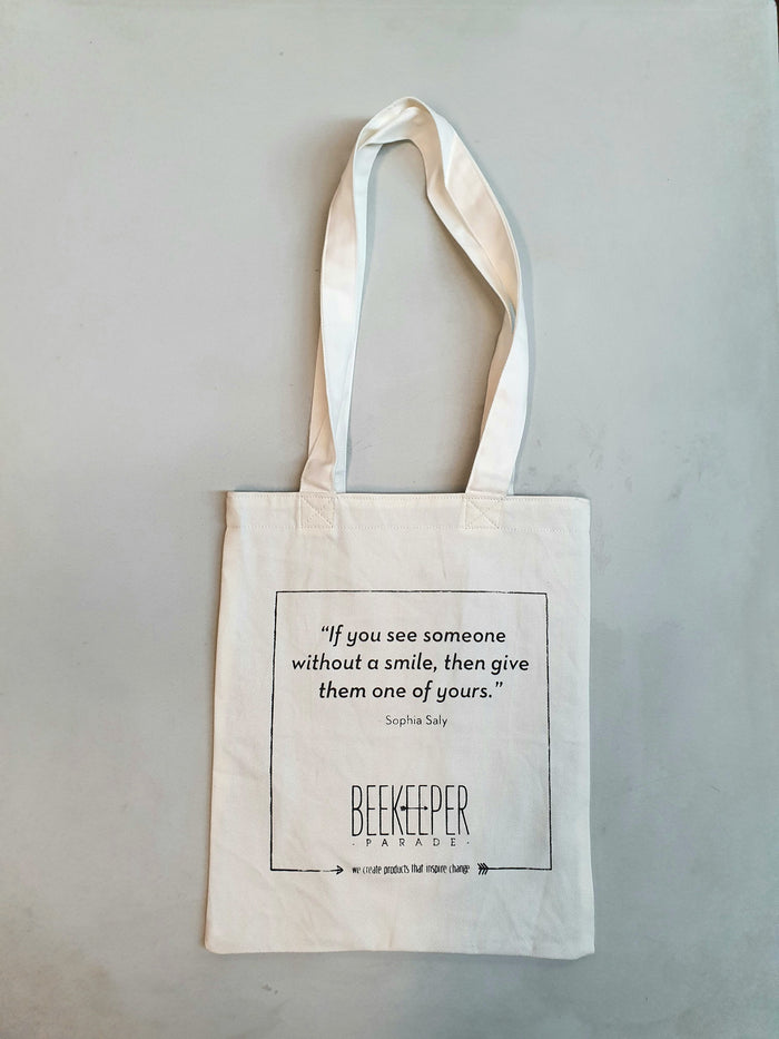 "[SALE 10% OFF] The ""Sophia Saly"" Quote Tote Medium (White Canvass)"
