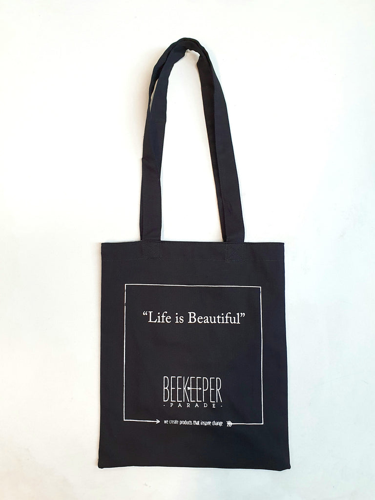 "The ""Life is Beautiful"" Quote Tote Medium (Black Canvass)"