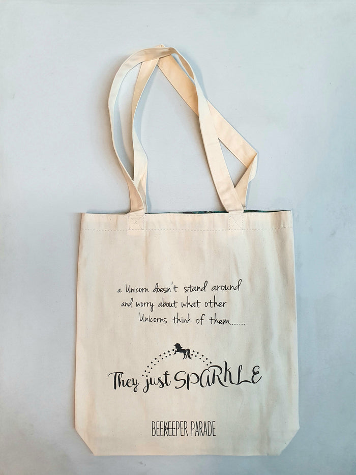 "The ""Unicorn Sparkle"" Quote Tote Large (White Canvass)"