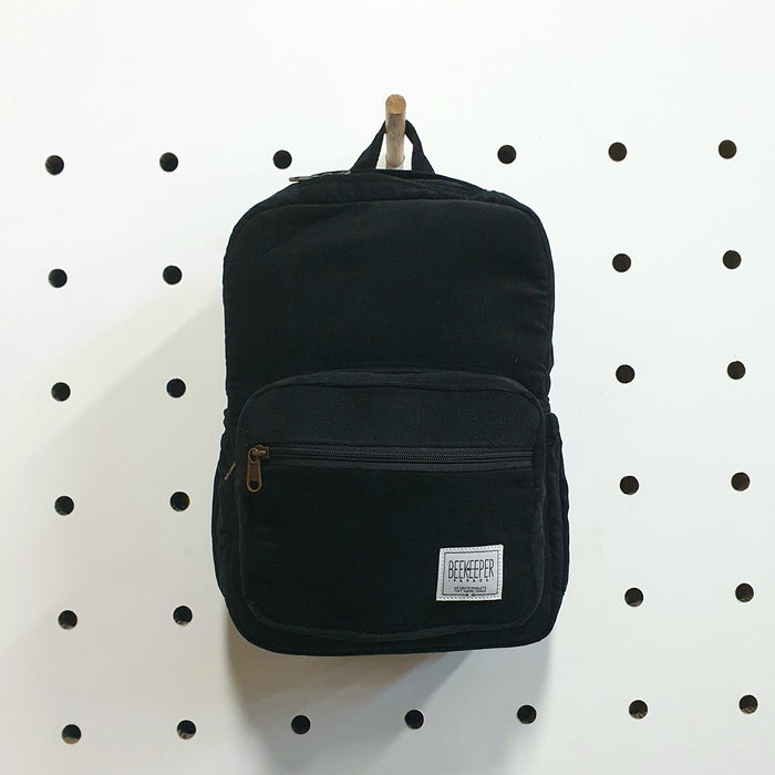 The Panda Black Corduroy Mini-Royal BeeKeeper Backpack (Masterpiece Range)