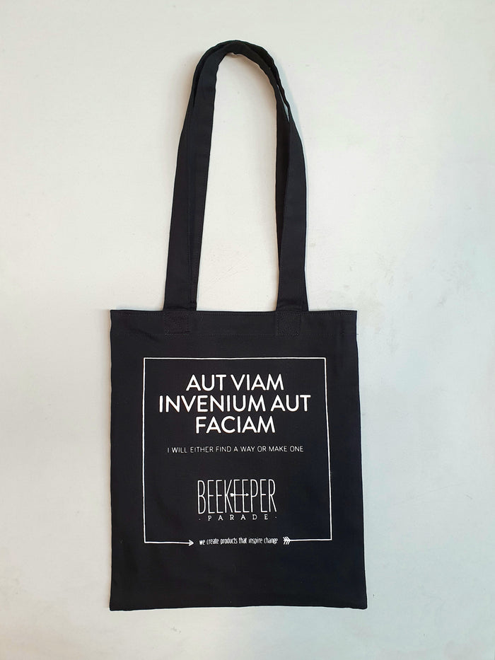 "The ""Aut Viam Invenium Aut Faciam"" Quote Tote Medium (Black Canvass)"