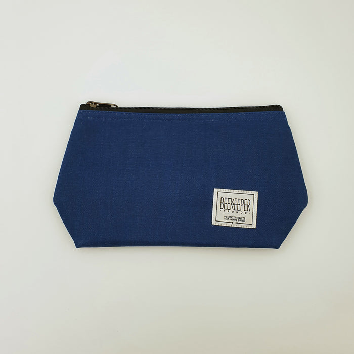 The Retro Blue Denim  Toiletry + Makeup Bag