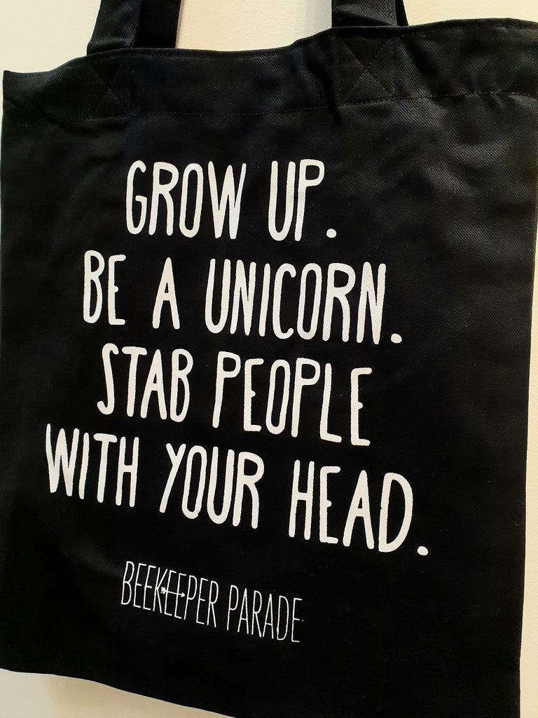 "The ""Grow up Be a Unicorn"" Quote Tote Medium (Black Canvass)"