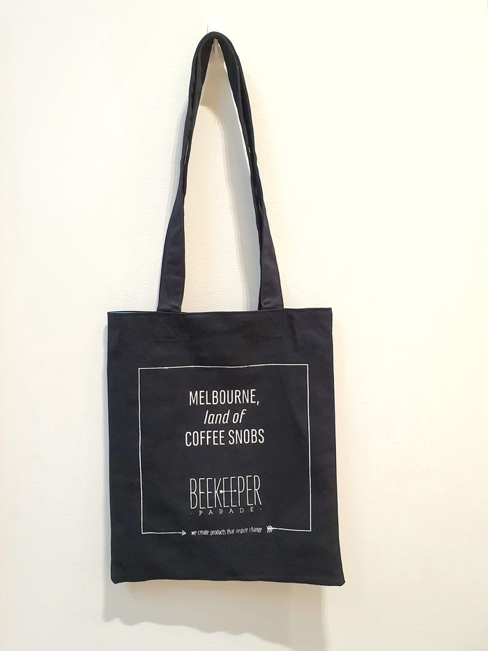 "The ""Coffee Snobs"" Quote Tote Medium (Black Canvass)"