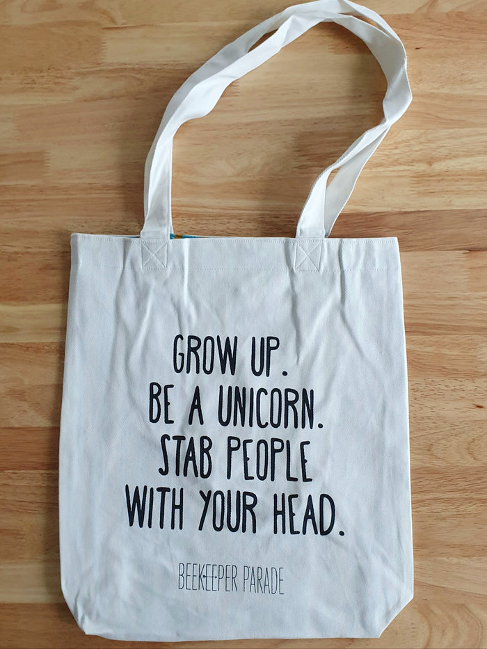 "The ""Grow up, Be a Unicorn"" Quote Tote Large (White Canvass)"
