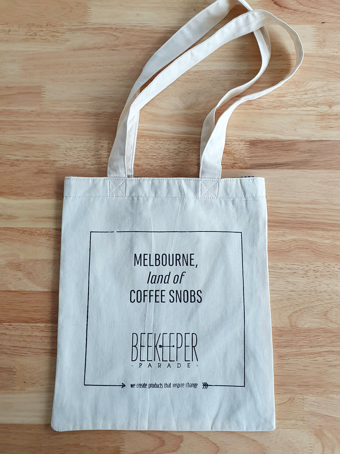 "[SALE 10% OFF] The ""Coffee Snobs"" Quote Tote Medium (White Canvass)"