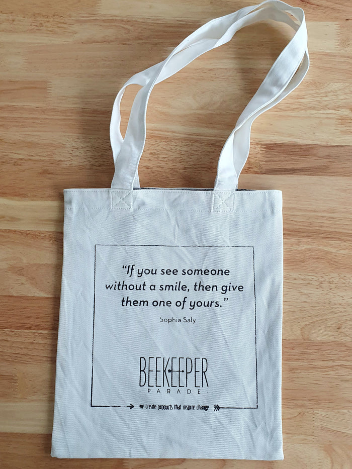 "The ""Sophia Saly"" Quote Tote Medium (White Canvass)"