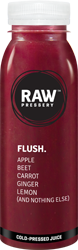 Flush: Sugar Free Fruit juice having ingredinets Apple Beet Carrot Ginger Lemon