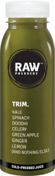 TRIM: Sugar Free juice having ingredinets Kale Spinach, Doodhi, Celery, Green Apple, Ginger, Lemon