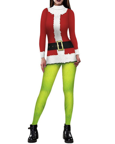 Green Giant In Santa Claus Robe Print Womens Catsuit Bodysuit Costume