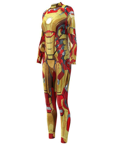 Iron Man Marvel Movie Bodysuit Fancy Womens Halloween Catsuit Costume