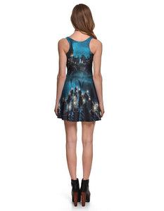 World Of Harry Potter Puzzle Print Short Vest Fancy Skater Dress