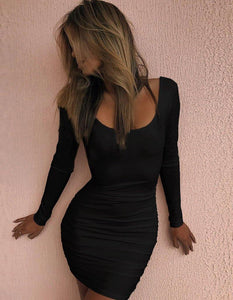 Backless Long Sleeve Scoop Neck Sexy Tight Pub Club Short Party Dress