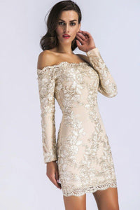 Bardot Lace Overlay Embroidery Long Sleeve Short Party Dress