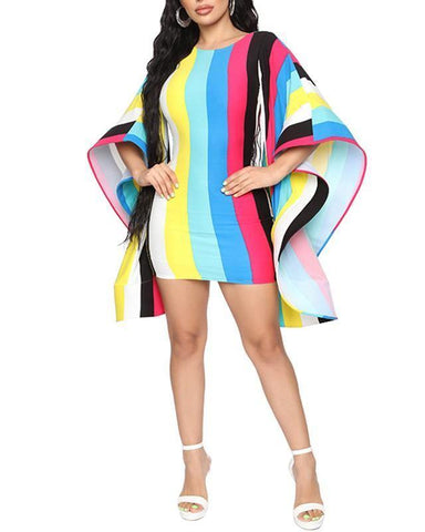Rainbow Stripes Big Batwing Flutter Sleeves Backless Short Party Dress