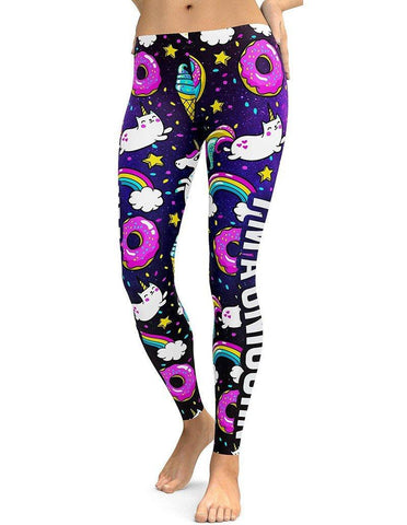 Christmas Designed Rainbow Unicorn Doughnut Print Navy Tights Leggings