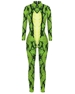 Adult Womens Green Snake Catsuit Costume