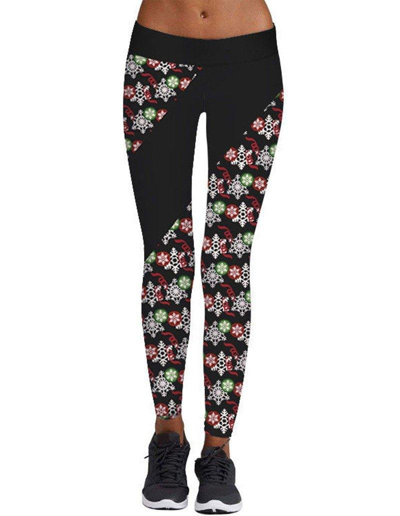 784c870aaa64a Sequential Snowflake Print Christmas Workout Leggings Womens Tights ...