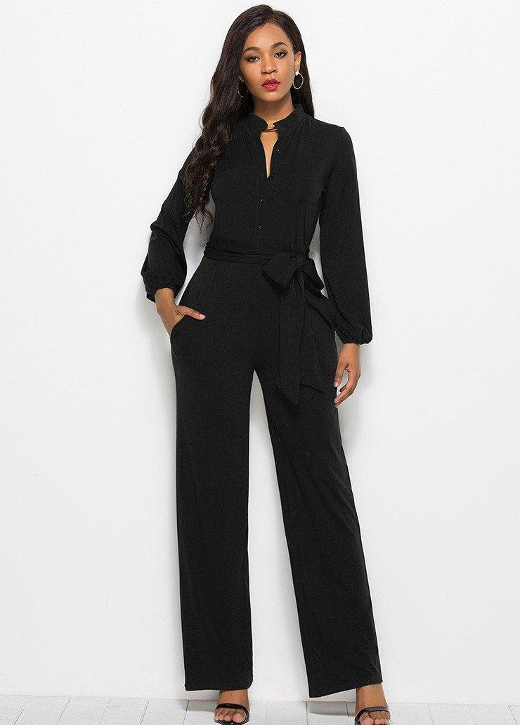 50e298d2487 Black Long Sleeve Buttoned Front And Self Belt Wide Leg Party Jumpsuit