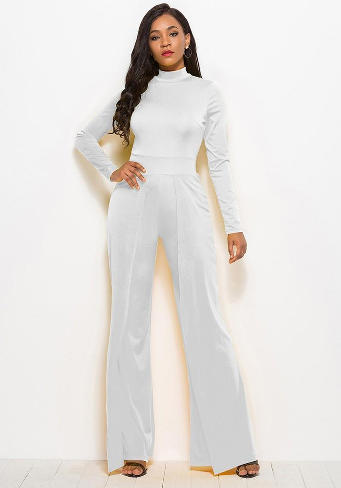 42988e75ee High Neck Long Sleeves Flutter Pants Wide Leg White Jumpsuit – FADCOVER