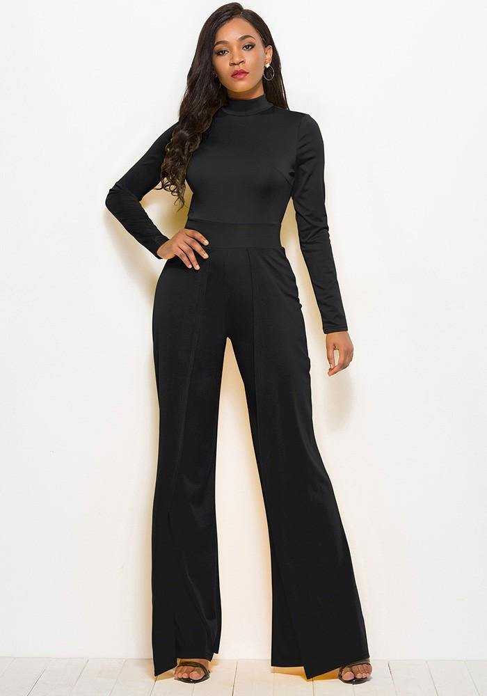 latest style undefeated x huge inventory Black High Neck Long Sleeves Flutter Pants Wide Leg Jumpsuit