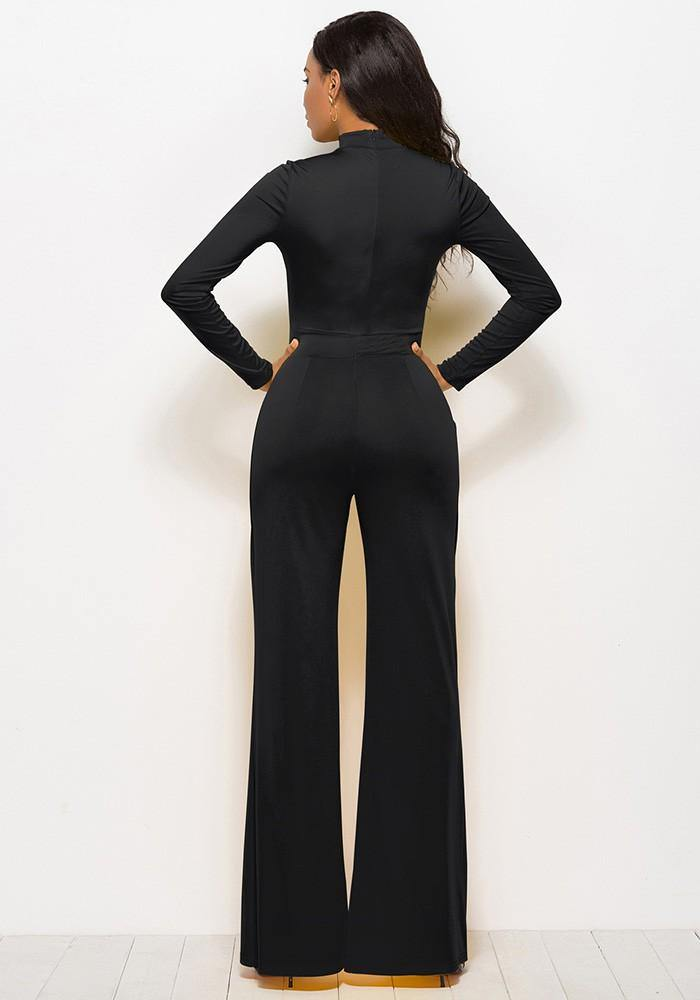 8633eaa8d5 Black High Neck Long Sleeves Flutter Pants Wide Leg Jumpsuit – FADCOVER
