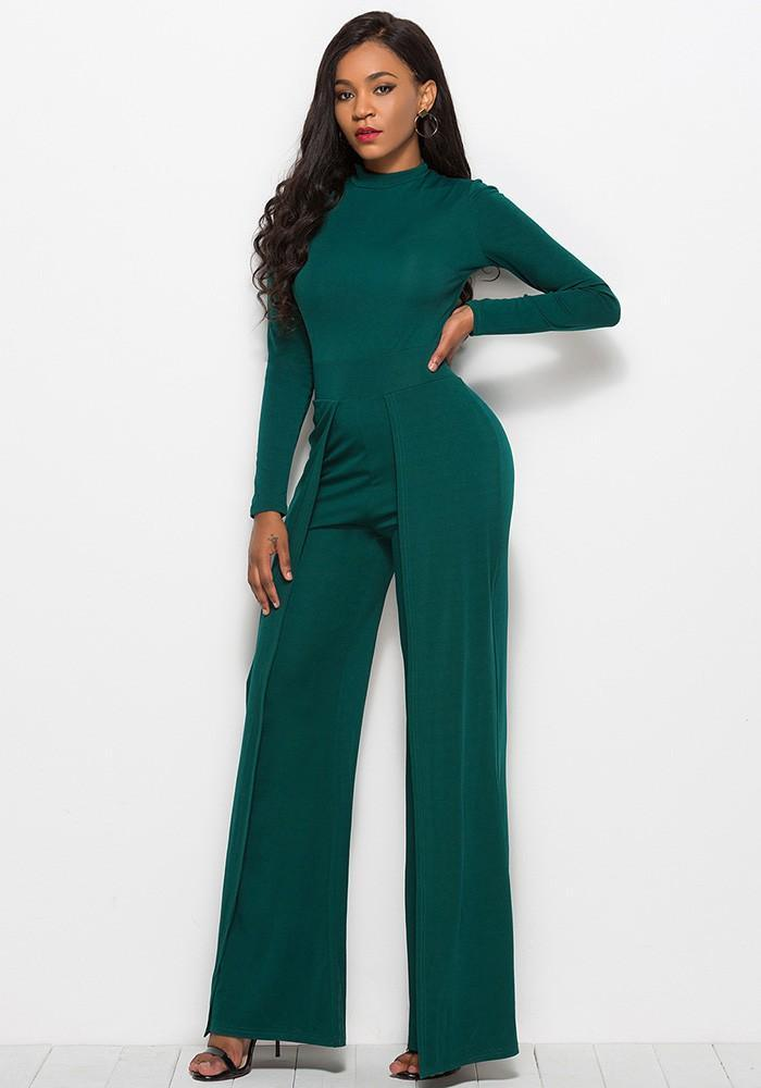 25ee3c3bb8 Dark Green High Neck Long Sleeves Flutter Pants Wide Leg Jumpsuit ...