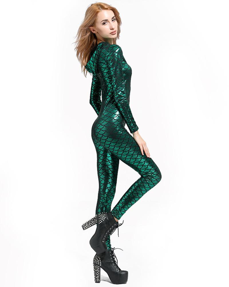 262a4999081 Green Shiny Fish Scale Hooded Catsuit Adult Womens Mermaid Costume ...