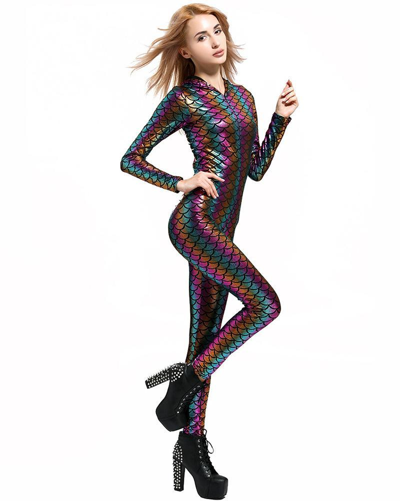d1d6bb9b517 Colorful Striped Fish Scale Hooded Catsuit Womens Mermaid Costume ...