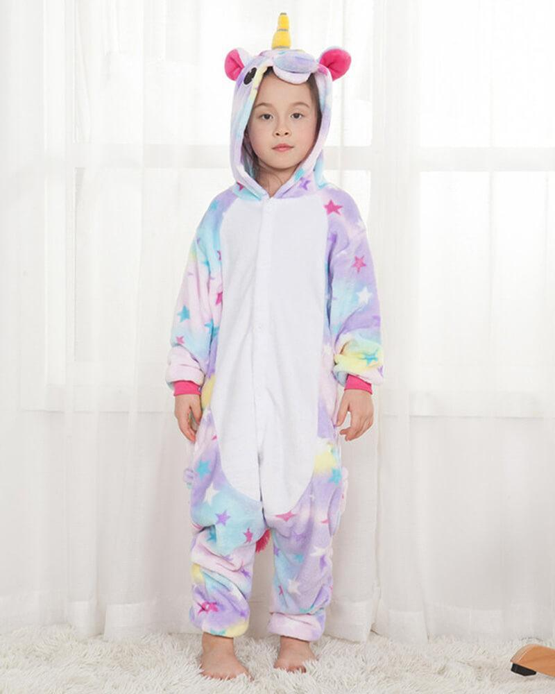 cef27de340fd Cute Stars Unicorn Flannel Onesie Girls Boys One Piece Pajama Costume