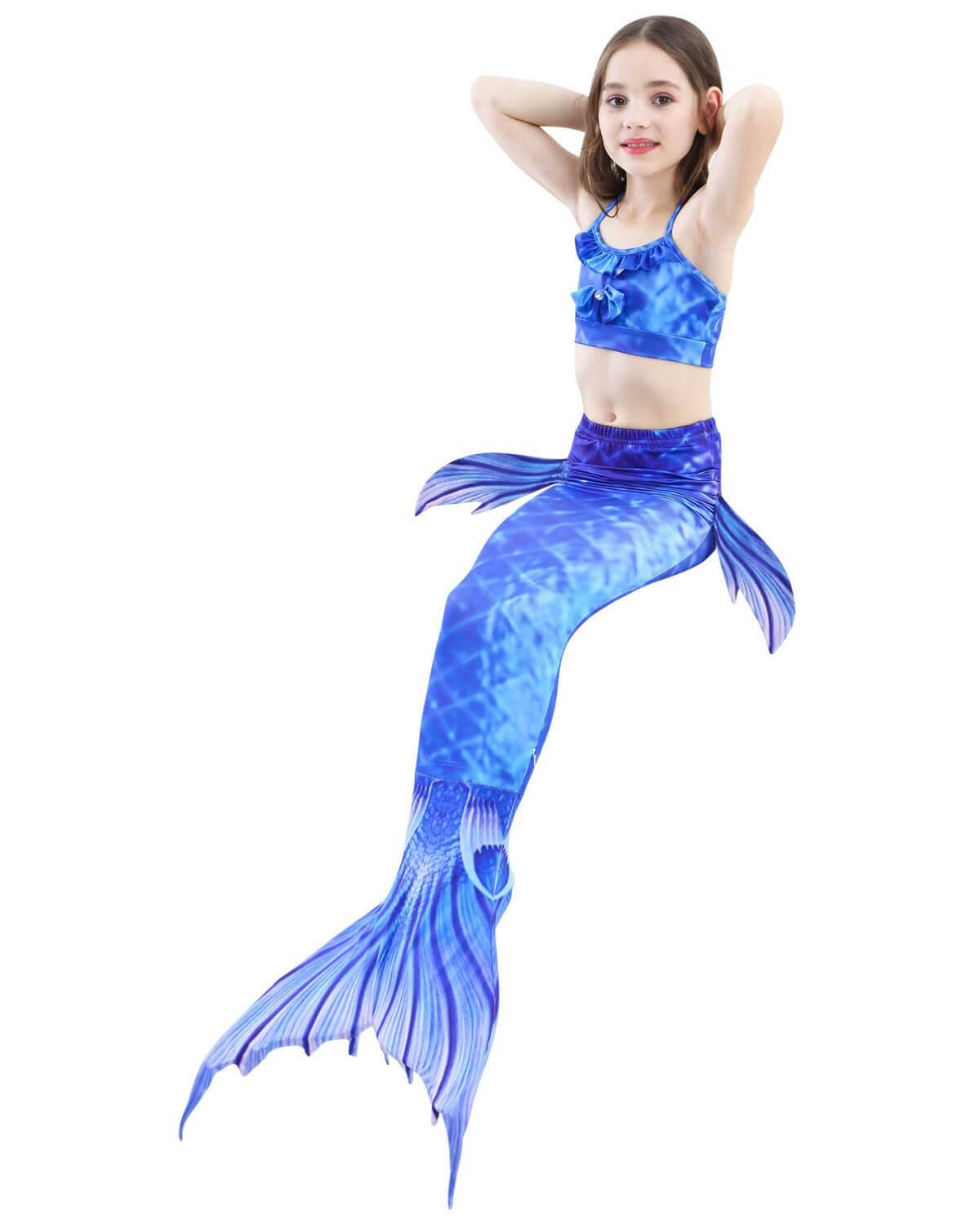 ea2cfb1541 Blue Beta Fish Top Bottom And Mermaid Tail With Fins Girls Swimsuit ...