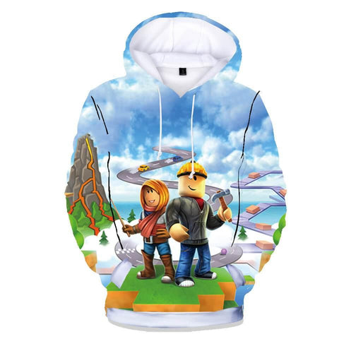 Boys Girls Roblox Builderman 3D Print Cotton Pullover Hoodie