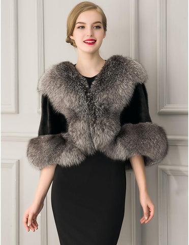 Womens Ultimate Pelted Texture Faux Fur Cape