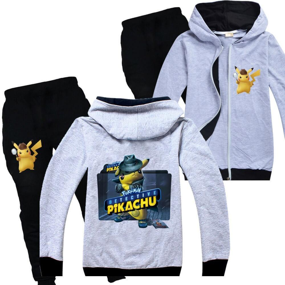 Kids Pokemon Detective Pikachu Clothes Hoodie Black Trousers Tracksuit Outfits