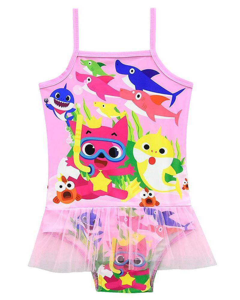Baby Shark Adventure Prints 3 10 Years Girls One Piece Tulle