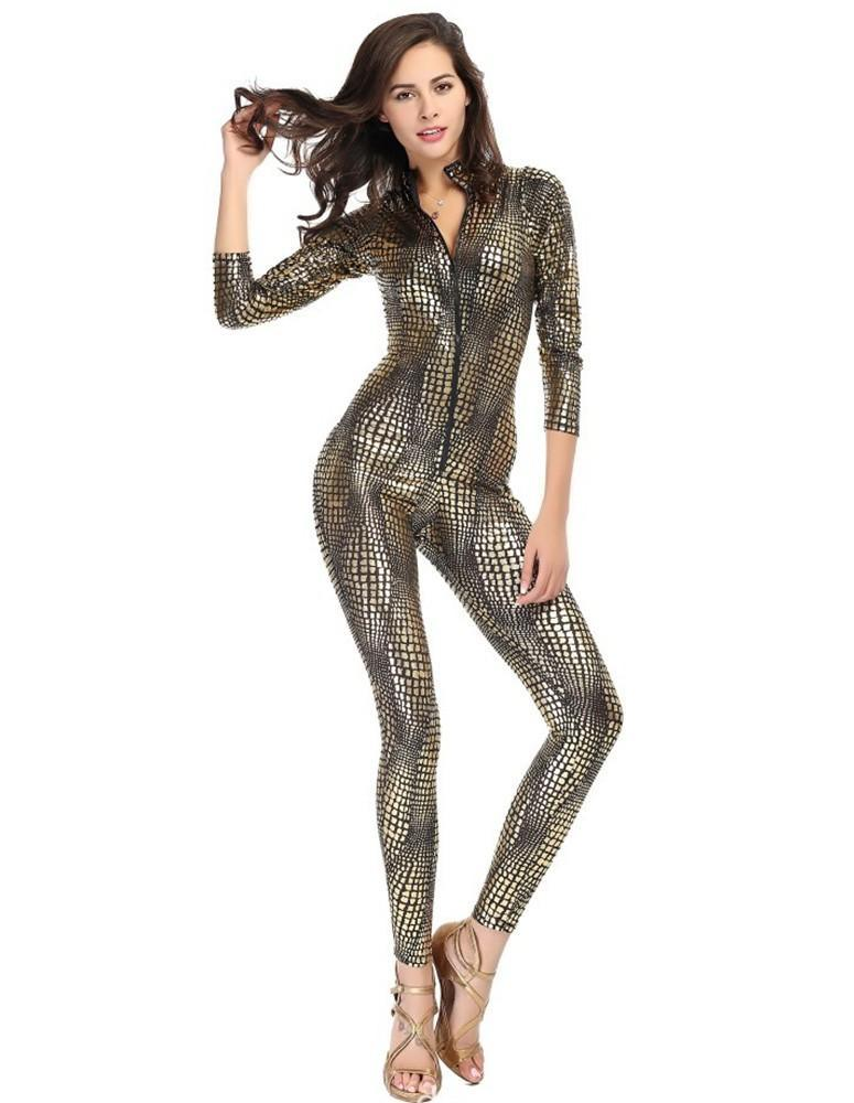 snake skin like leather tight jumpsuit catsuit halloween costume fadcover