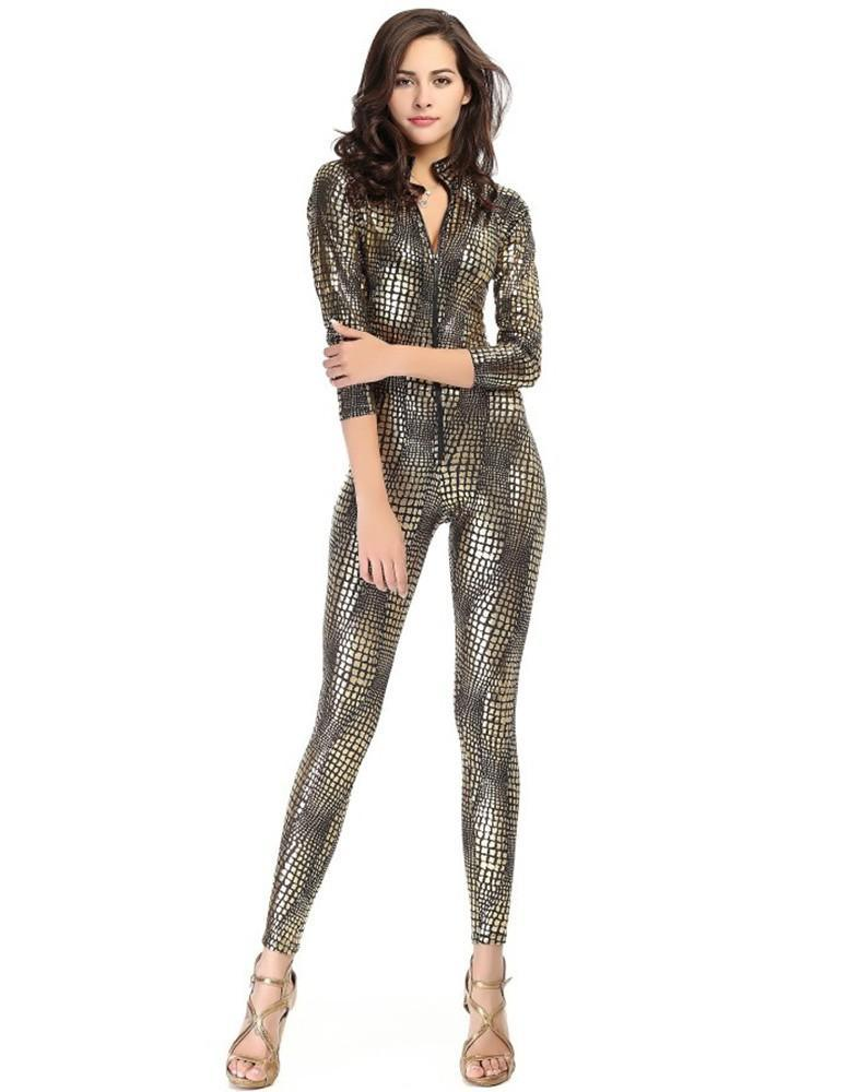 Snake-Skin Like Leather Tight Jumpsuit Catsuit Halloween Costume - FADCOVER bc5d354d8