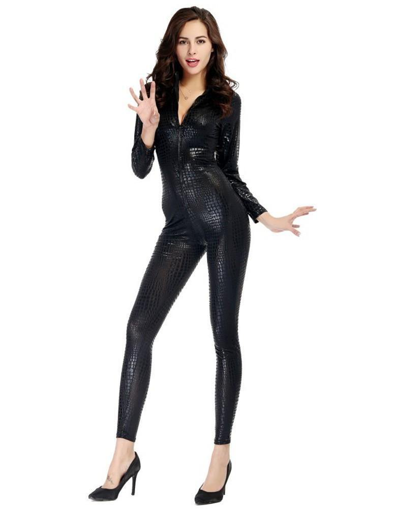 Black Catsuit Snake-Skin Like Leather Tight Jumpsuit Stage Dance Costume -  FADCOVER 10fe3d71c