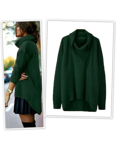 Womens Stylish Heap Collar Asymmetric Cotton Sweater