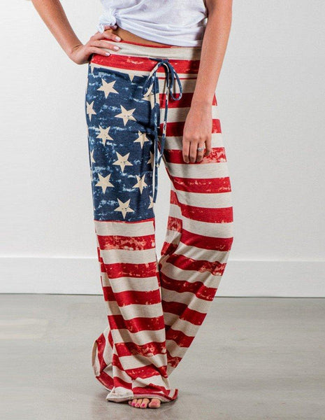 Casual The American Flag Stars And Stripes Printed Loose Pants
