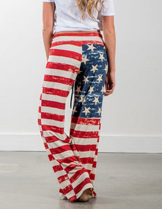 Casual The American Flag Stars And Stripes Printed Loose Pants - FADCOVER