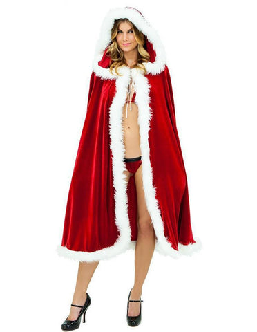 Velvet Furry Christmas Mrs Santa Claus Cloak With Cap Costume - FADCOVER